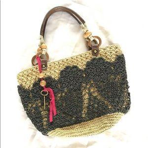 Fossil Straw Tote Crochet Floral Hobo Handbag BB1
